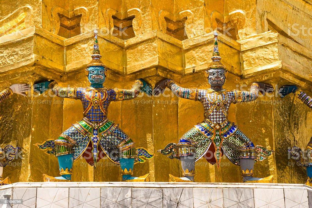 Ramayana figures at Grand Palace royalty-free stock photo