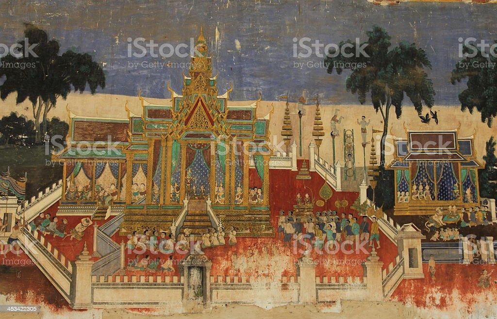 Ramayana painting from the Royal Palace stock photo