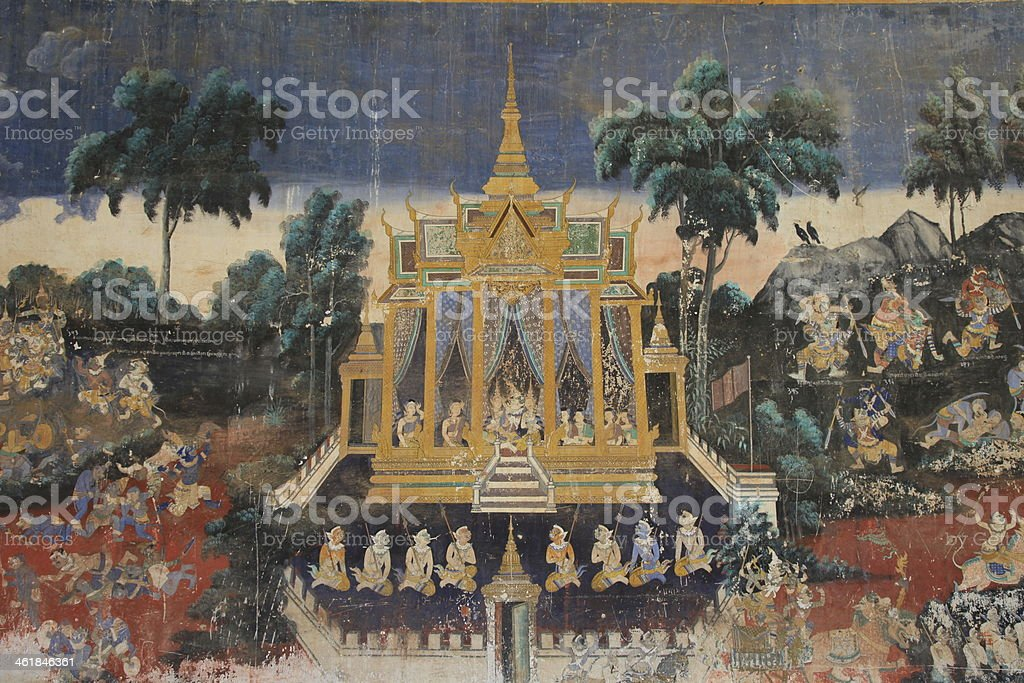 Ramayana painting from the Silver Pagoda, Phnom Penh stock photo