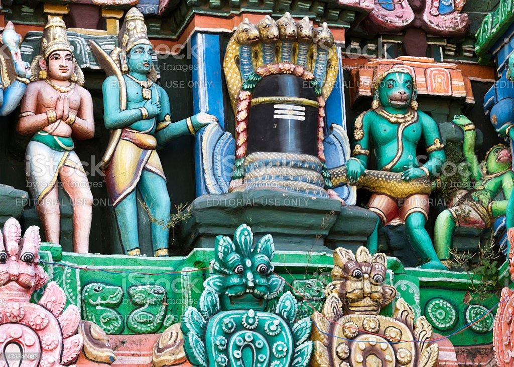 Ramayana scenery around Shivalingam on Gopuram. stock photo