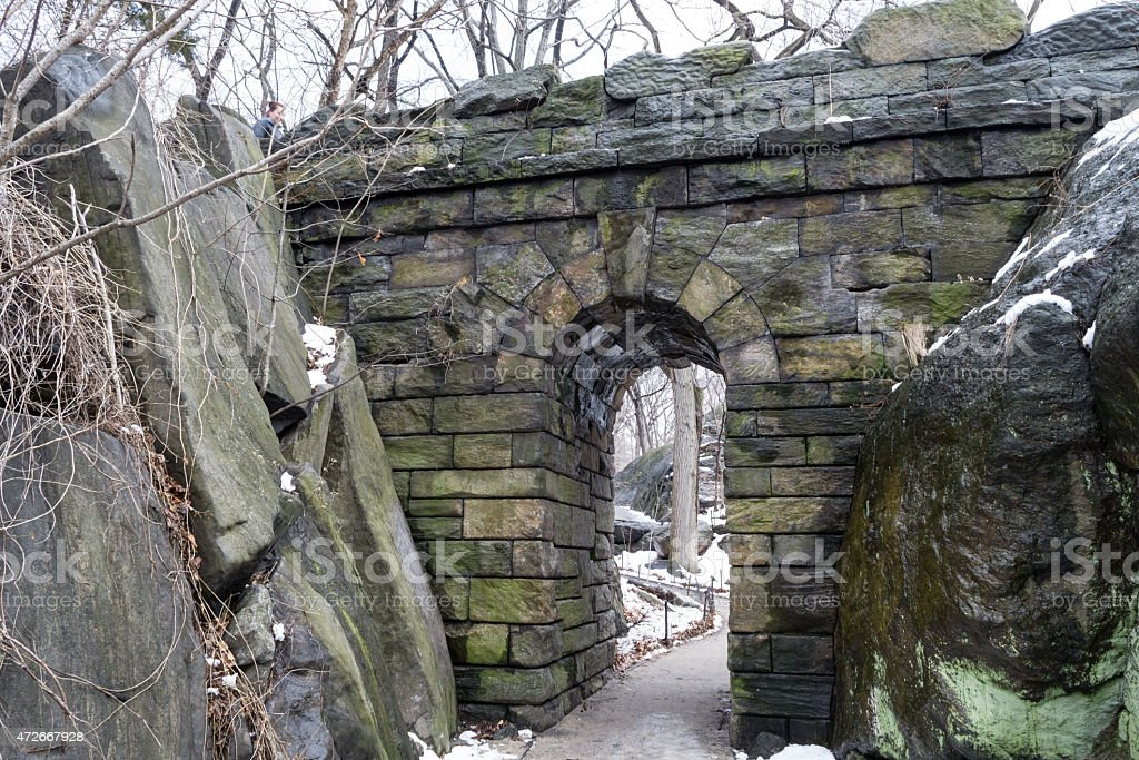 Ramble Stone Arch by the rocks stock photo