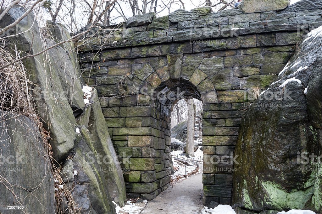 Ramble Stone Arch during the winter stock photo