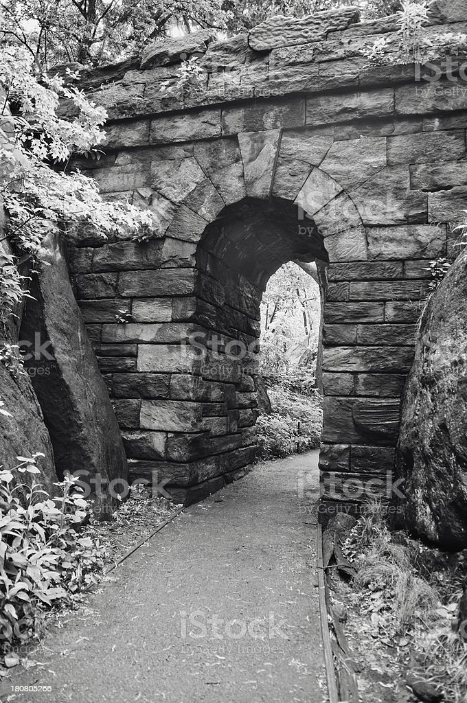 Ramble Stone Arch in Central Park stock photo