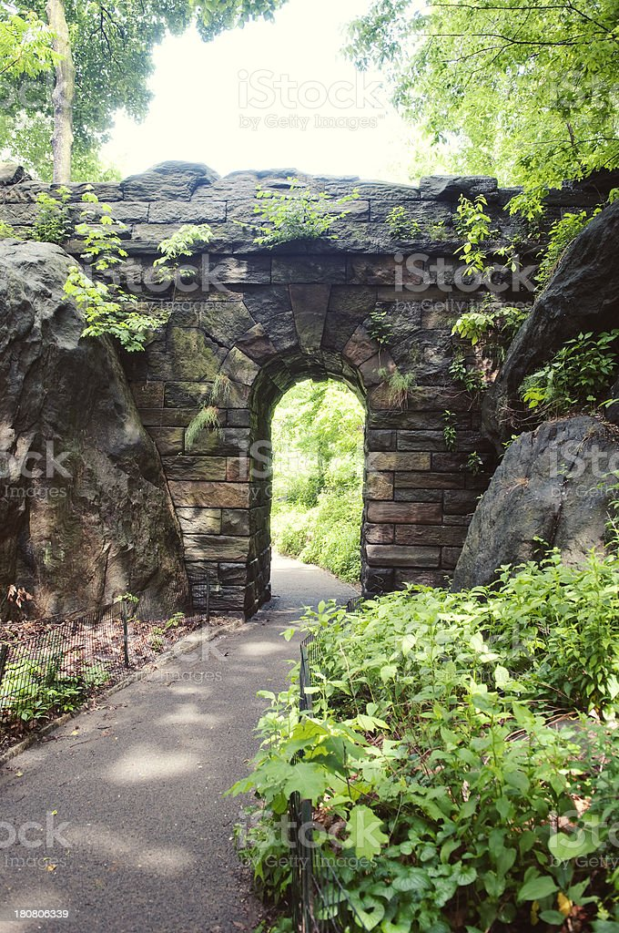 Ramble Stone Arch in Central Park royalty-free stock photo