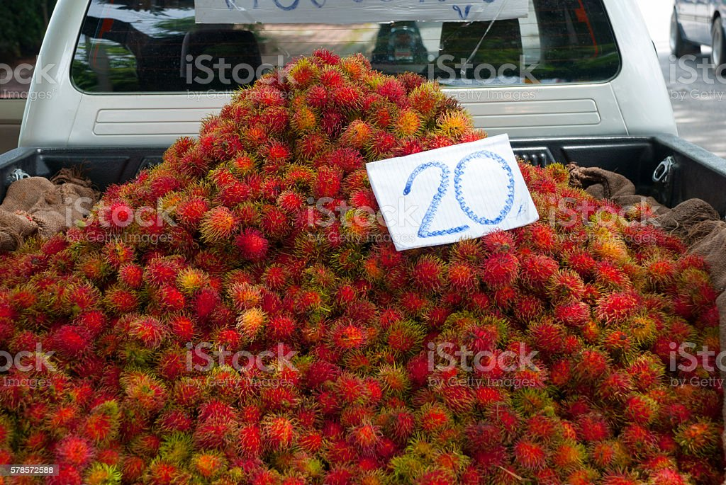 Rambutan fruit for sale in Thailand stock photo
