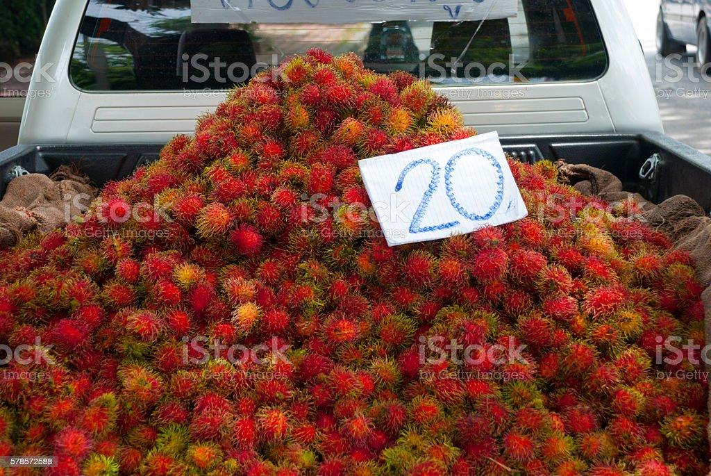 Rambutan fruit for sale in Thailand stock photo