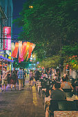 Rambuttri alley - popular food street in Bangkok, Thailand