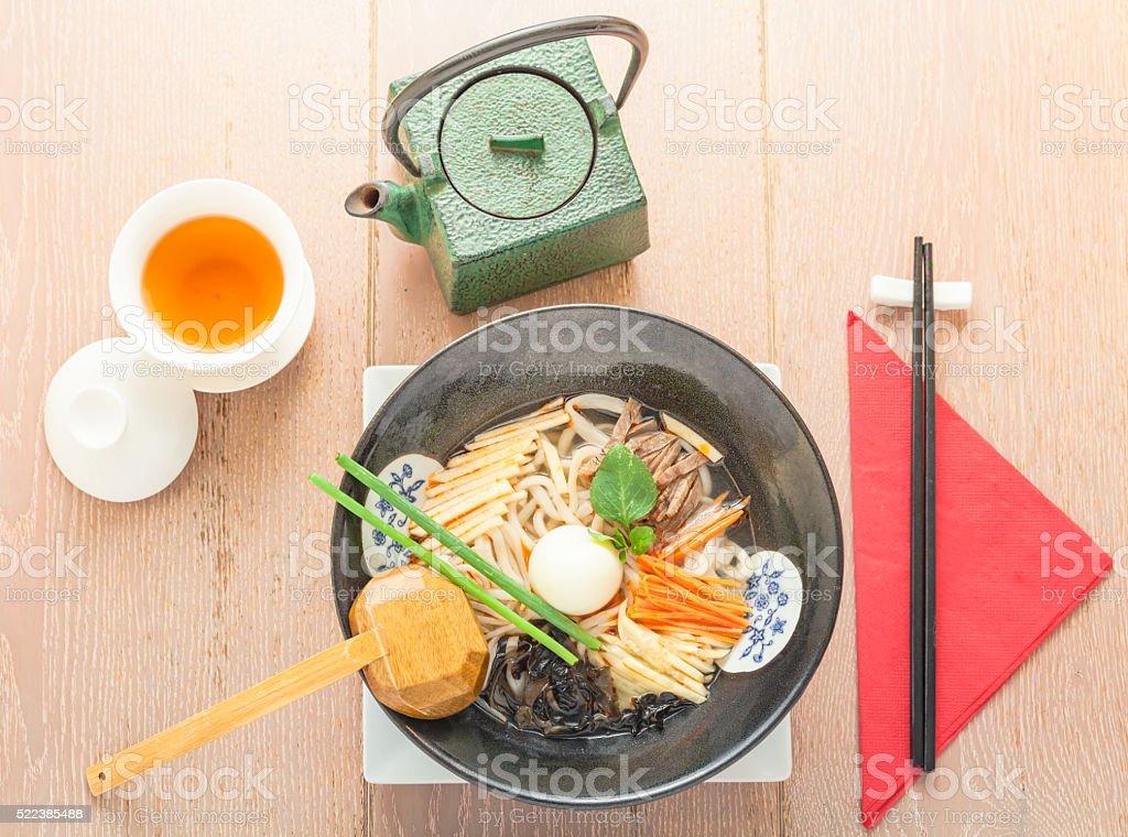 Ramen noodles soup stock photo