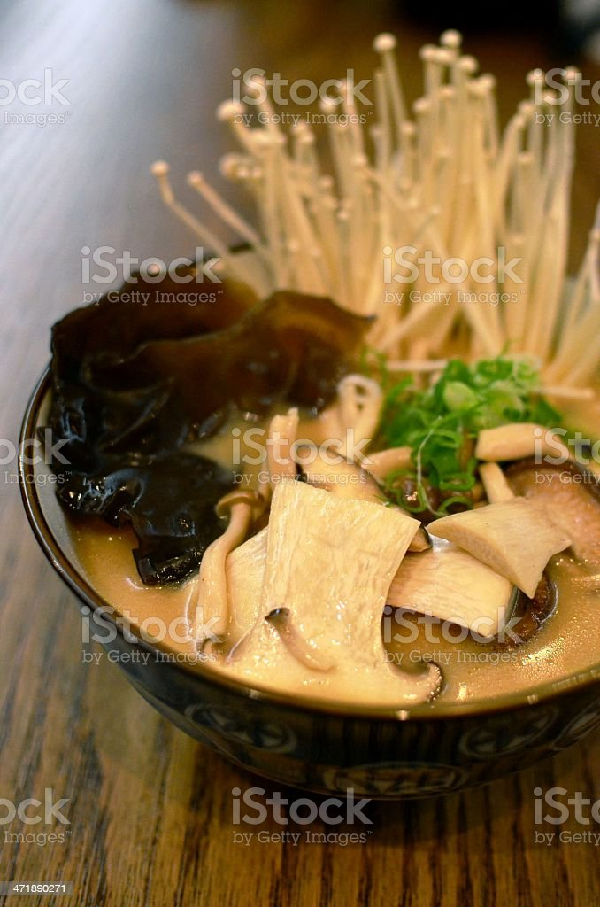 Ramen noodles with mushrooms royalty-free stock photo