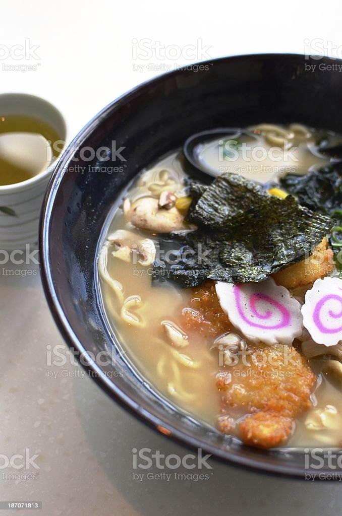 Ramen noodles with pork chop royalty-free stock photo