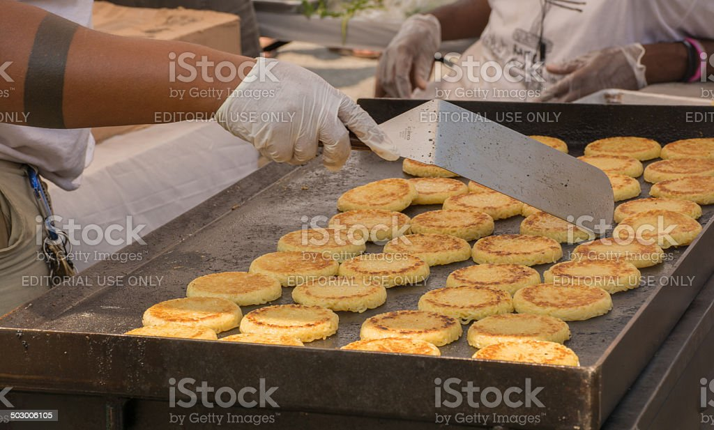 Ramen patties being cooked for the Ramen Burger stock photo
