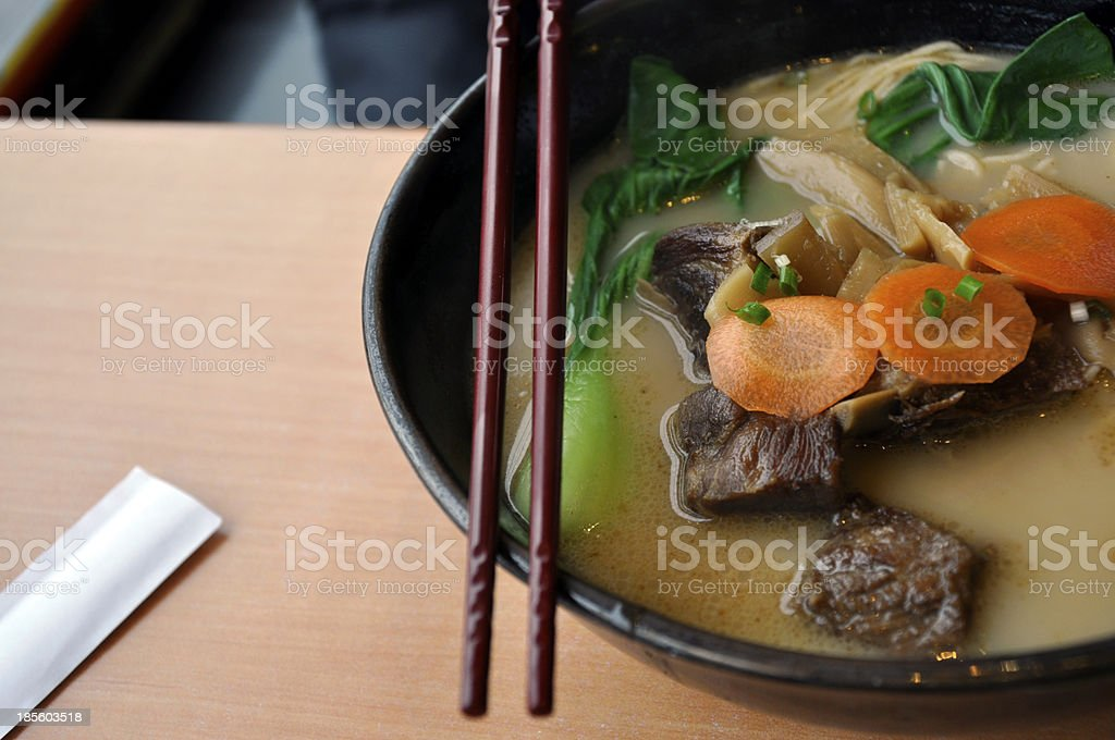 Ramen with soup stock photo