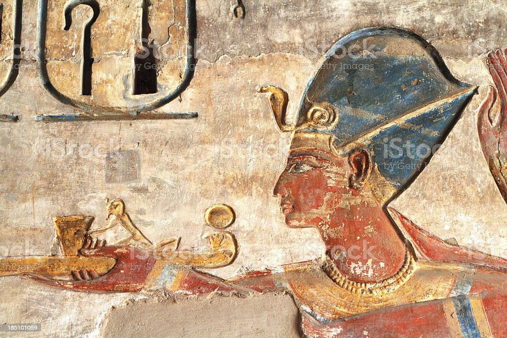 Ramesses III Painted Relief, Medinet Habu, Theban Necropolis, Luxor, Egypt stock photo
