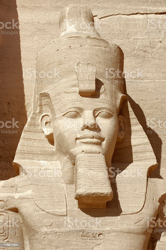 Ramesses portrait at Abu Simbel temples stock photo