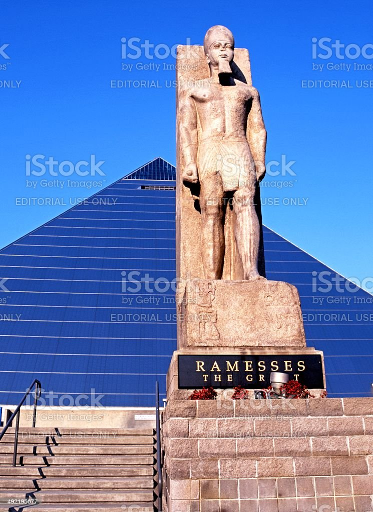 Ramesses statue and Pyramid Arena, Memphis. stock photo