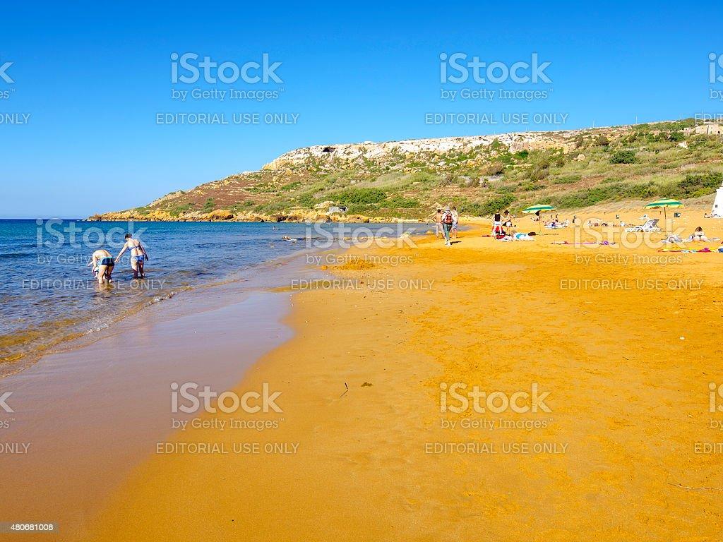 Ramla bay a golden reddish beach on Gozo, Malta stock photo