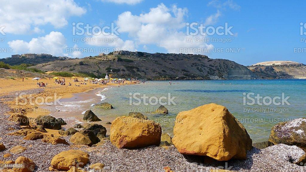 Ramla Bay in Malta. stock photo
