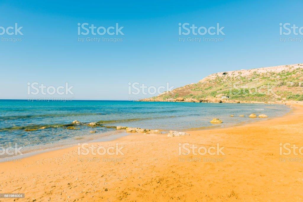 Ramla bay on Gozo island, Malta stock photo