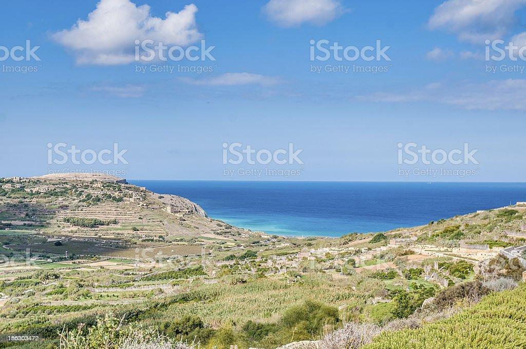 Ramla Bay, on the northern side of Gozo, Malta stock photo