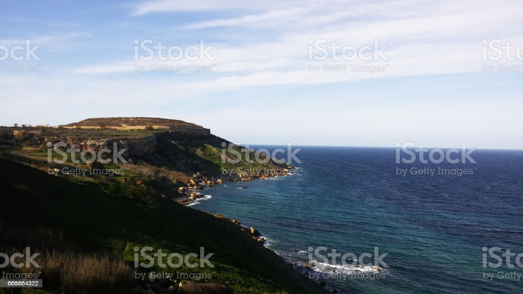 Ramla beach, Gozo island, Malta stock photo