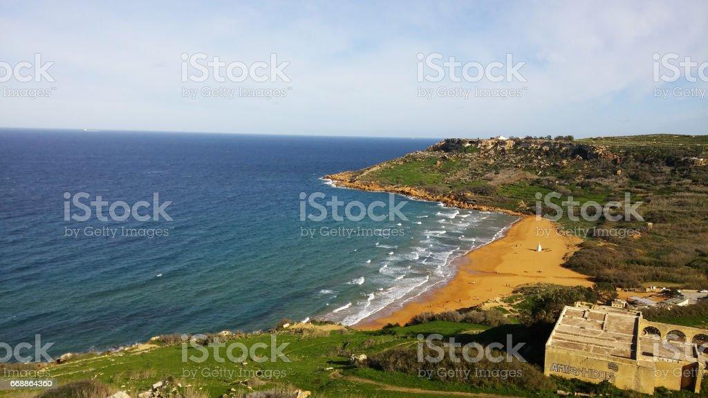 Ramla beach, Gozo island, Malta stock photo