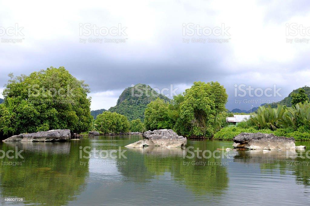 Rammang-rammang river stock photo