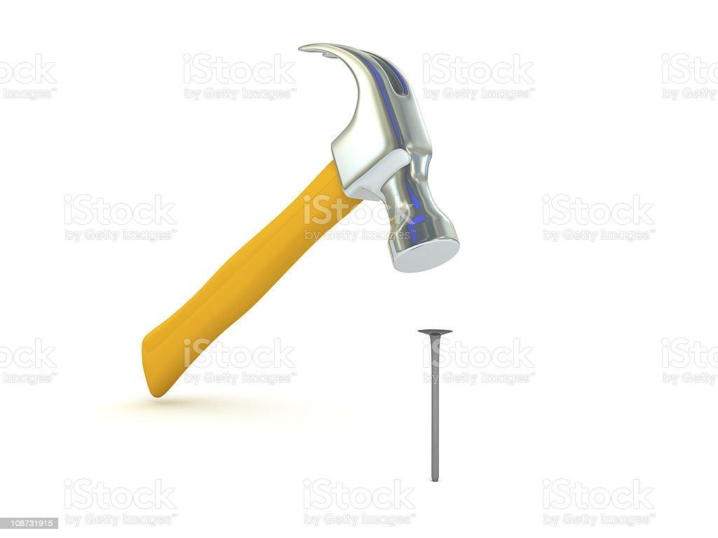 Ramming a nail stock photo