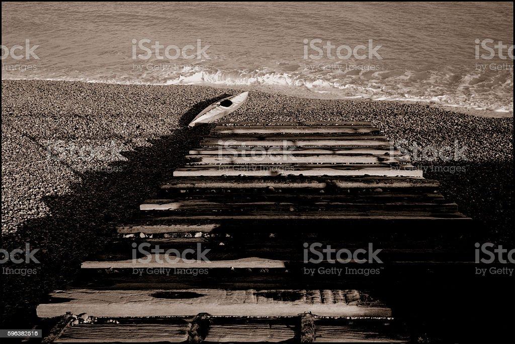 Ramp and canoe stock photo