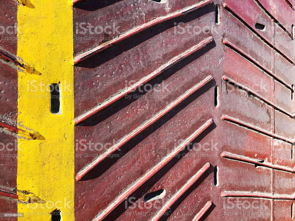 Ramp textured on a car ferry boat stock photo