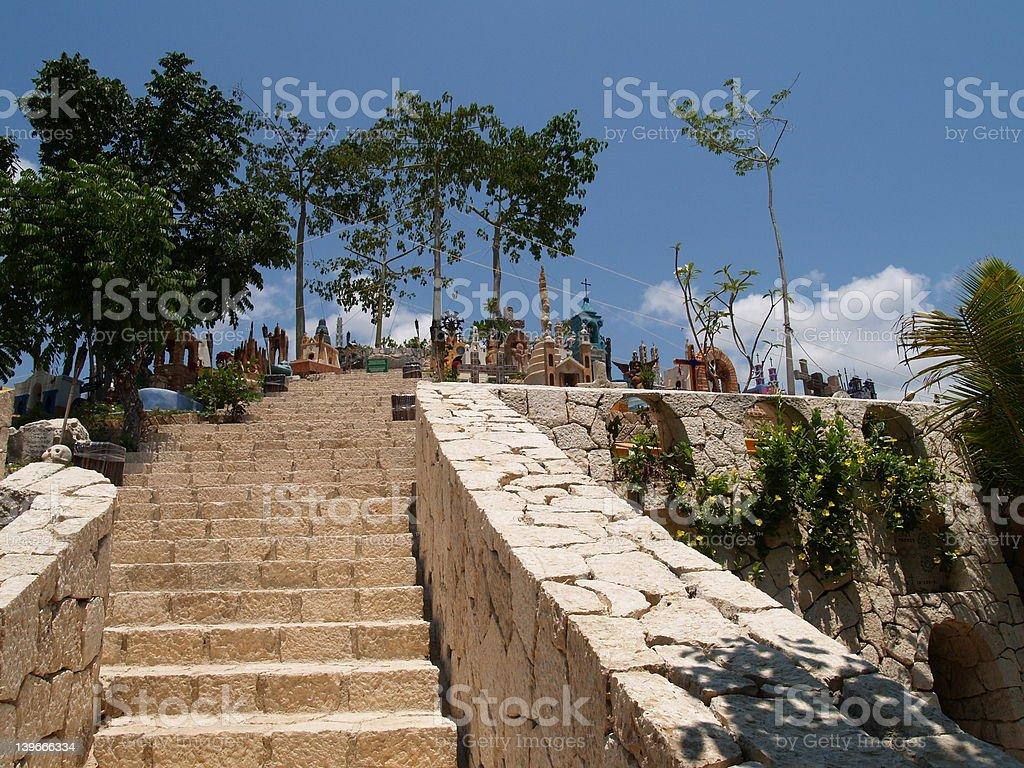 Ramp to Mayan Village Cemetery stock photo