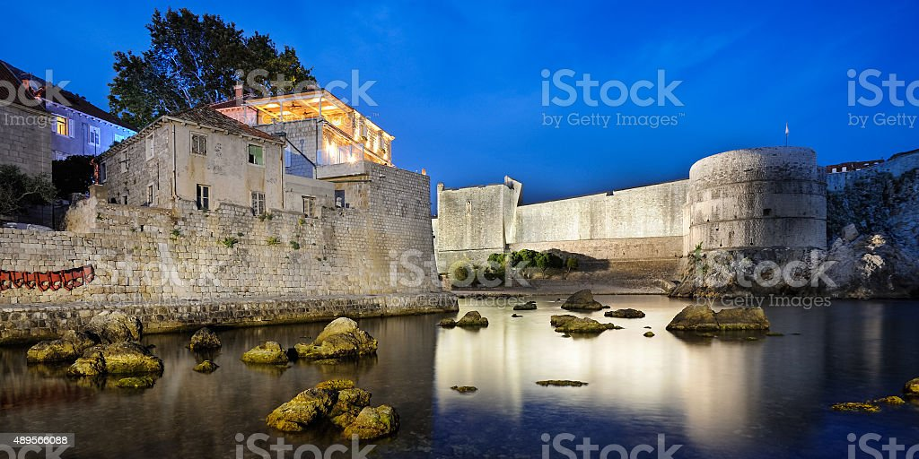 Ramparts and small bay of Dubrovnik stock photo