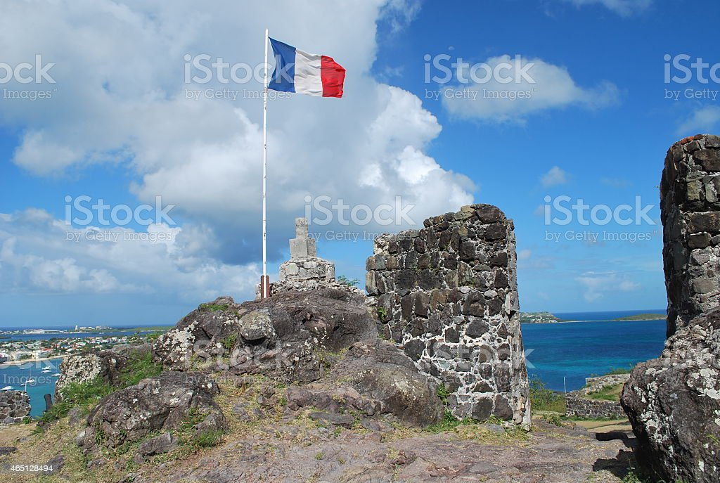 Ramparts of Fort Saint-Louis in Marigot. stock photo