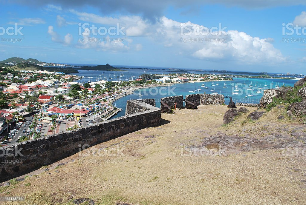 Ramparts of Fort Saint-Louis in St Martin Island. stock photo