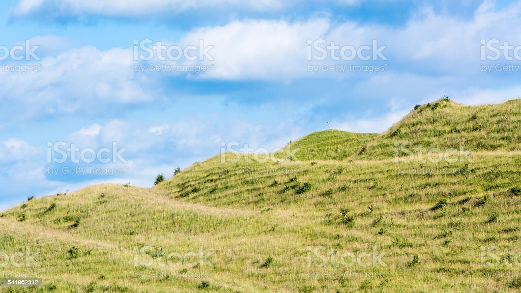 Ramparts of Iron Age fort on Battlesbury Hill, Wiltshire, UK stock photo