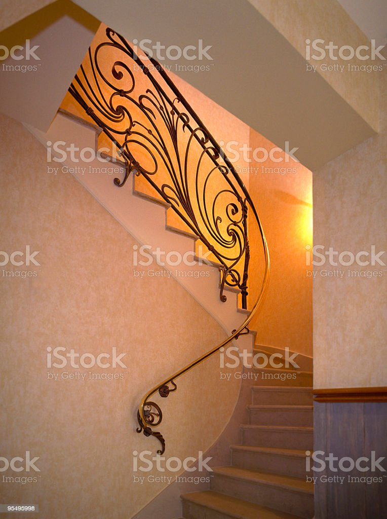 rampe d'escalier en laiton royalty-free stock photo