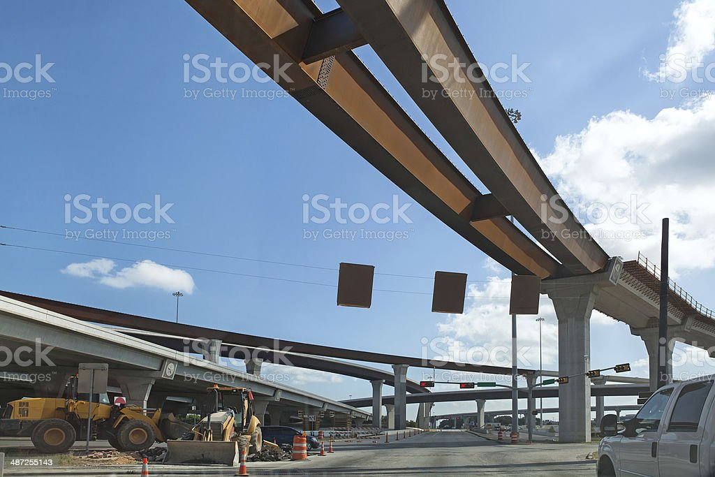 Ramps being incorporated into highway construction royalty-free stock photo