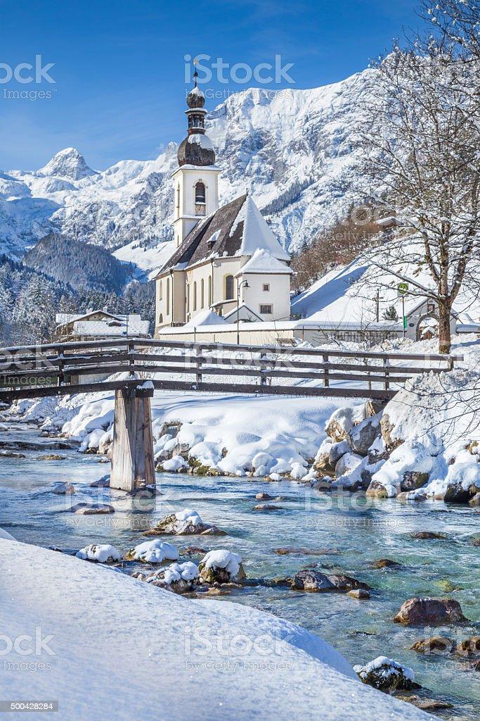 Ramsau in winter, Berchtesgadener Land, Bavaria, Germany stock photo