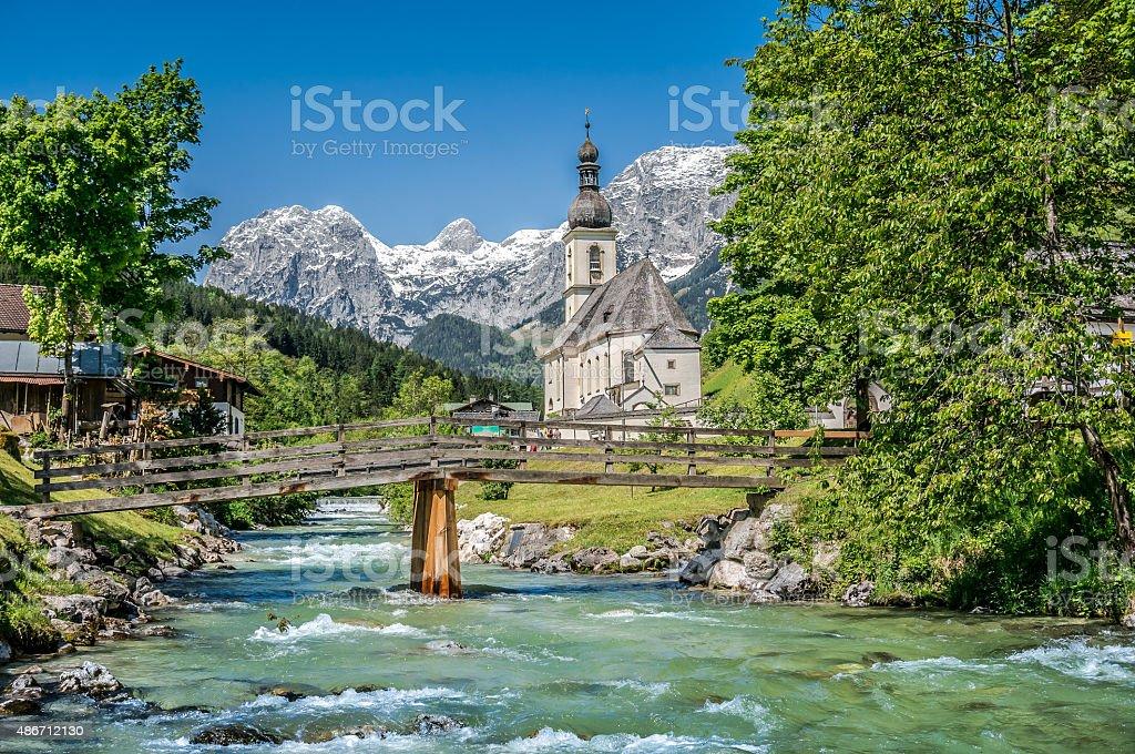 Ramsau mountain village, Berchtesgadener Land, Bavaria, Germany stock photo