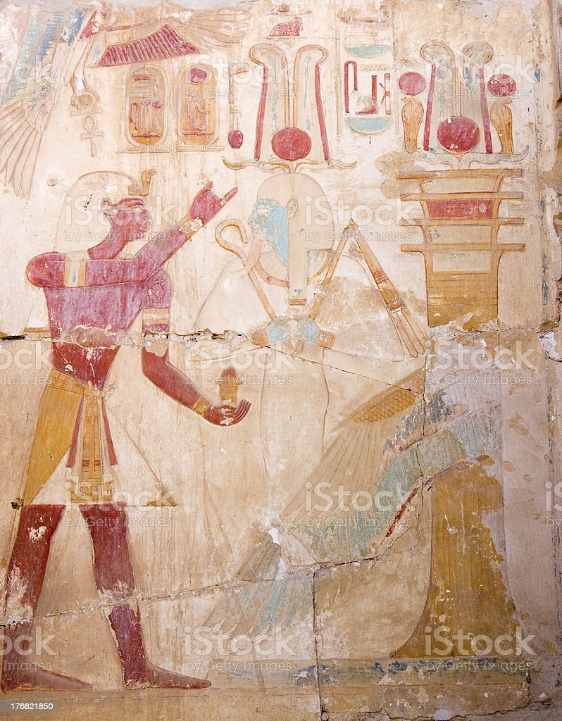 Ramses and Osiris, Ancient Egyptian carving stock photo