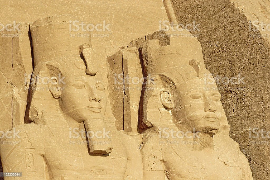 Ramses II and Nefertari in Abu Simbel stock photo