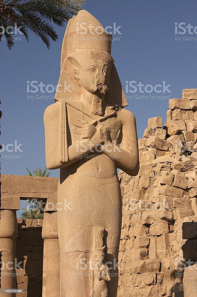 Ramses II in the Great Court At Karnak stock photo