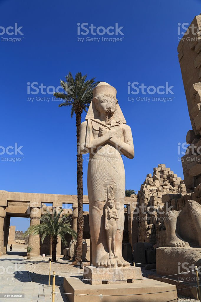 Ramses ii statue  in Karnak religious ,Egyp stock photo