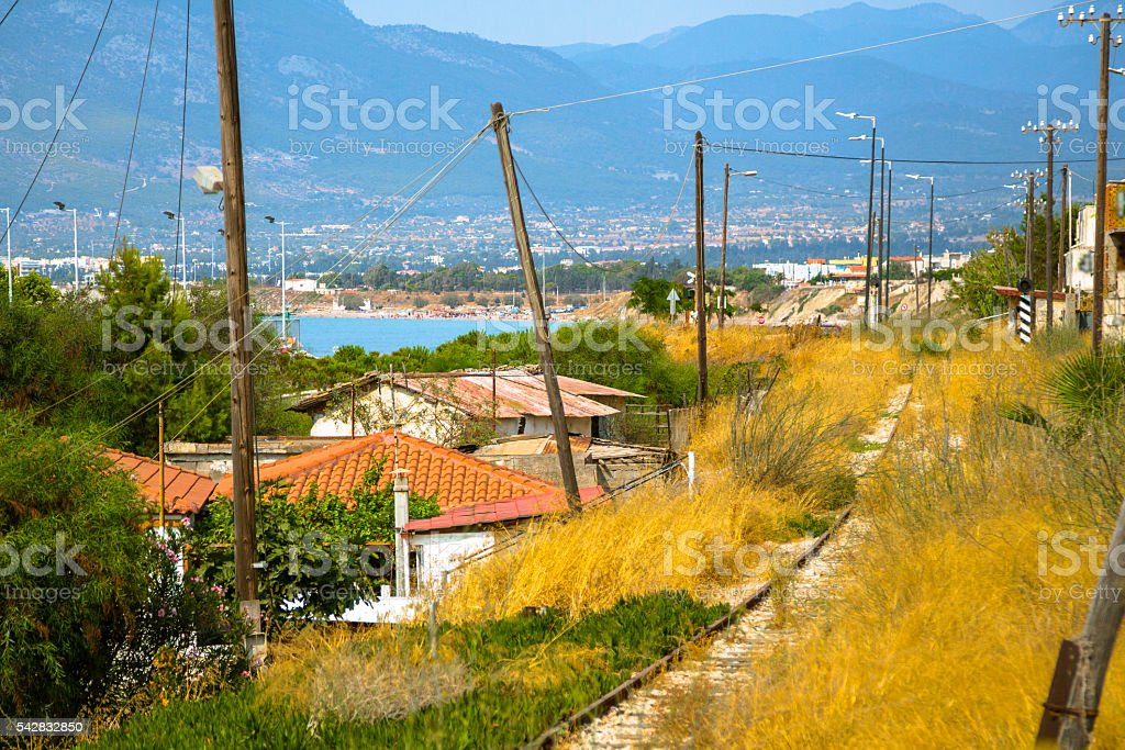 Ramshackle Railroad in Greece stock photo