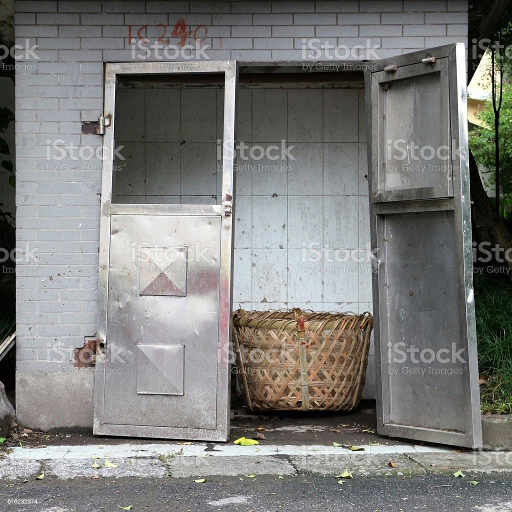 Ramshackle Workman's Hut stock photo