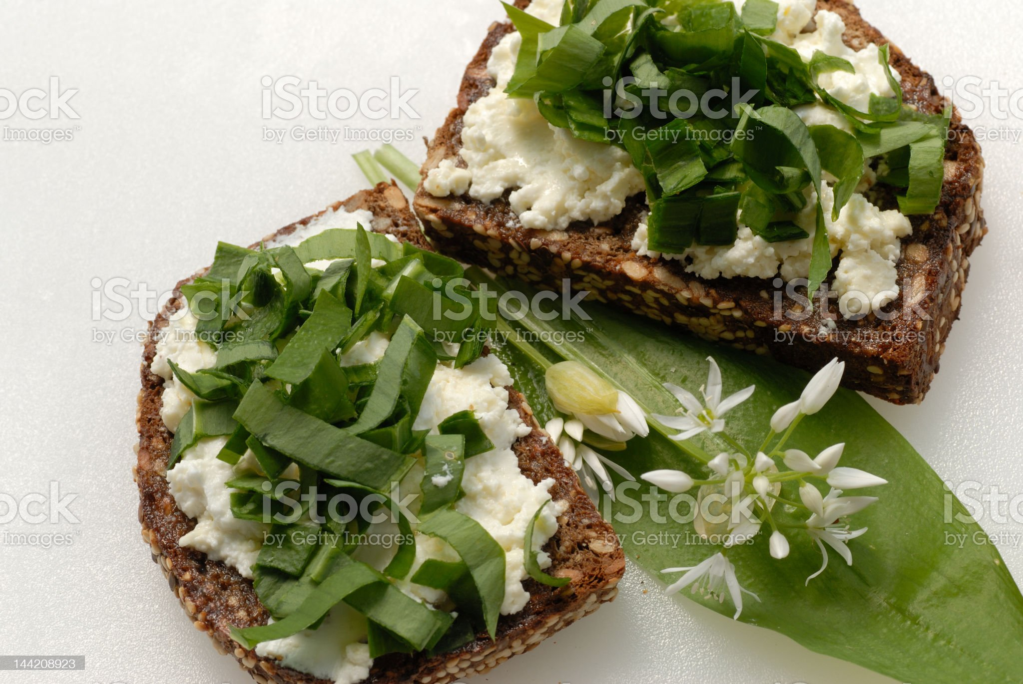 Ramson on spreaded slice of bread royalty-free stock photo