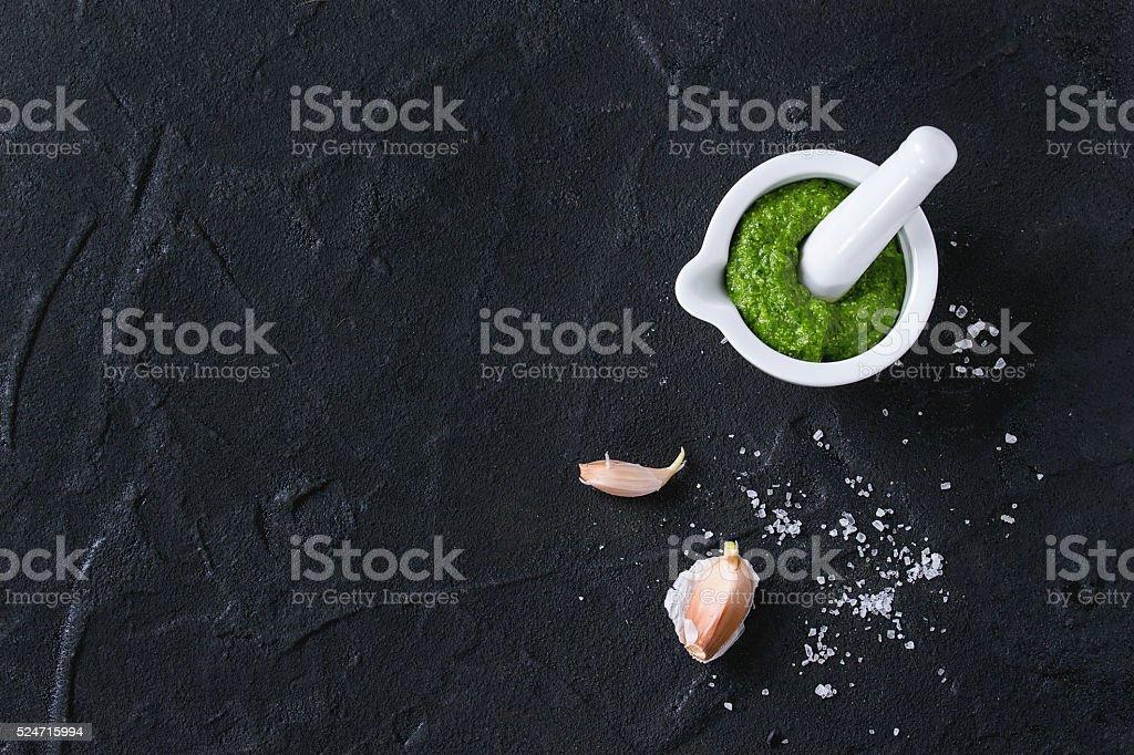 Ramson pesto sauce stock photo