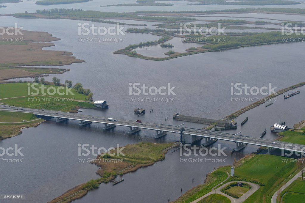 Ramspolbridge and storm barrier in the Netherlands stock photo
