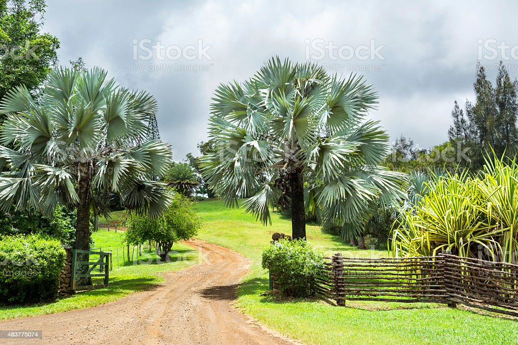 Ranch entrance in Hawaii stock photo