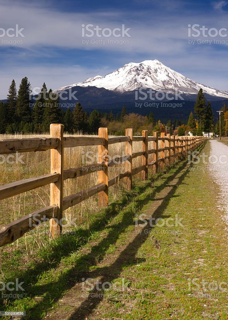 Ranch Fence Row Countryside Rural California Mt Shasta stock photo
