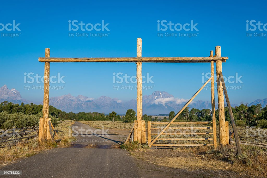 Ranch gate in Wyoming stock photo